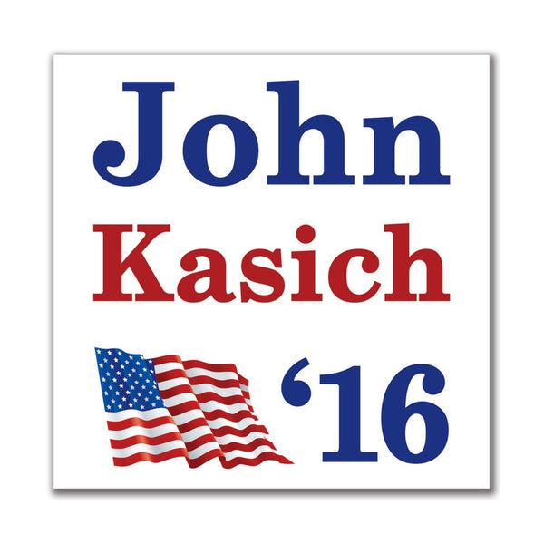 Election 2016 16 Flag John Kasich 3x4in. Rectangular Sticker