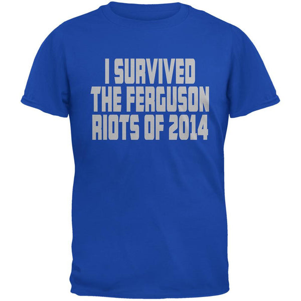 Ferguson I Survived The Riot 2014 Royal Adult T-Shirt