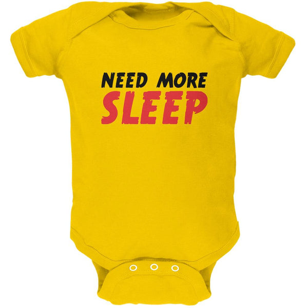 Need More Sleep Yellow Soft Baby One Piece