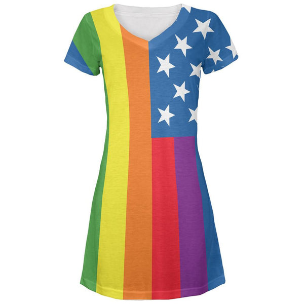 LGBT American Flag Rainbow All Over Juniors V-Neck Dress