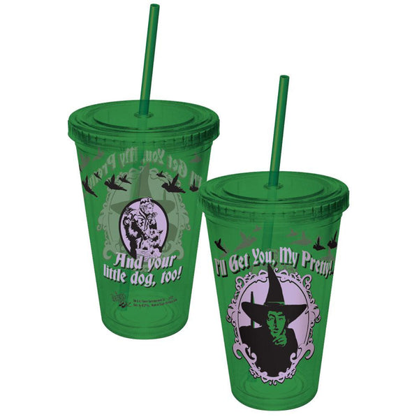 Wizard of Oz - I'll get You My Pretty Wicked Witch Colored Acrylic Tumbler With Straw