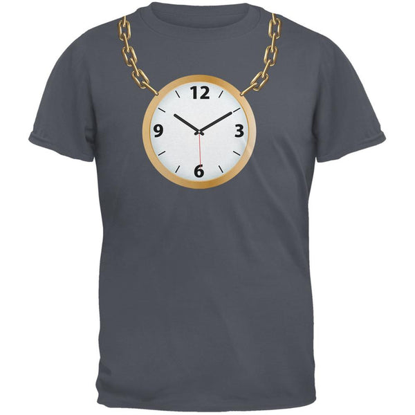 Clock Necklace Charcoal Grey Adult T-Shirt