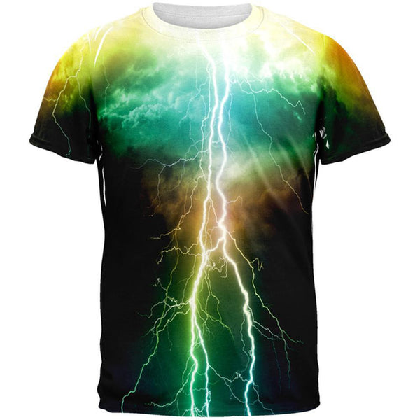Colorful Lightning All Over Adult T-Shirt