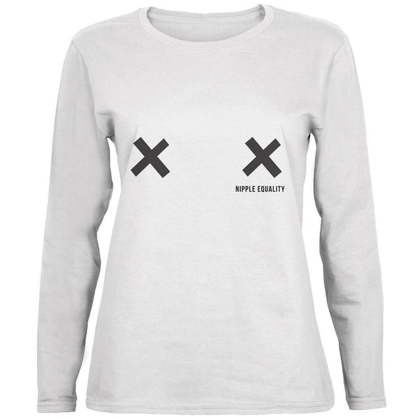 Nipple Equality Double X White Womens Long Sleeve T-Shirt