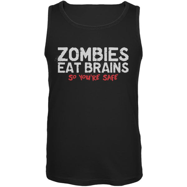 Zombies Eat Brains So You're Safe Black Adult Tank Top