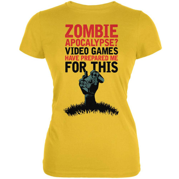 Zombie Apocalypse? Video Games Have Prepared Me Bright Yellow Juniors Soft T-Shirt