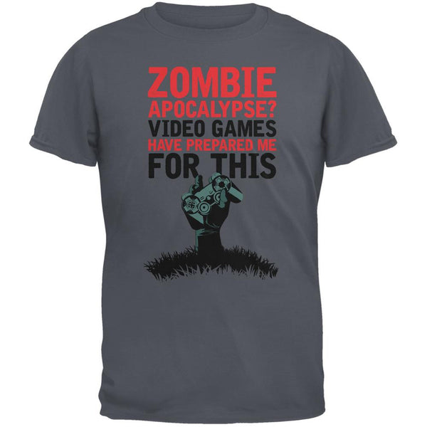 Zombie Apocalypse? Video Games Have Prepared Me Charcoal Grey Adult T-Shirt