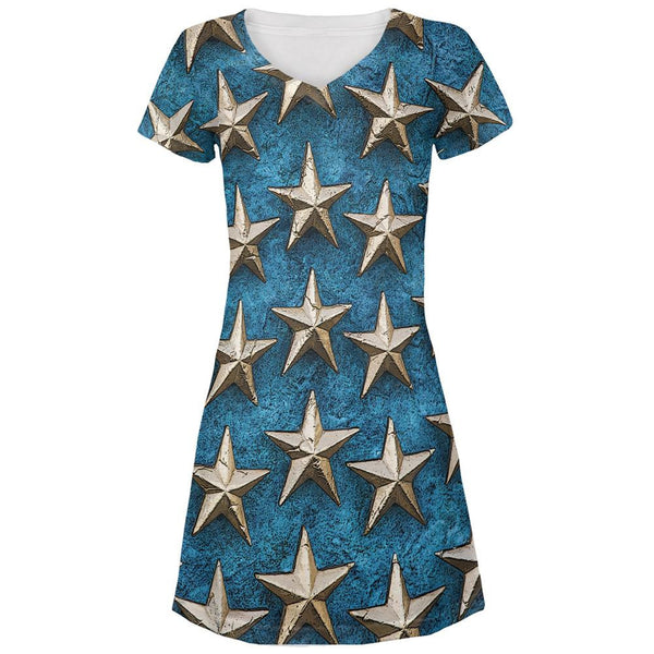 Metal Stars All Over Juniors V-Neck Dress