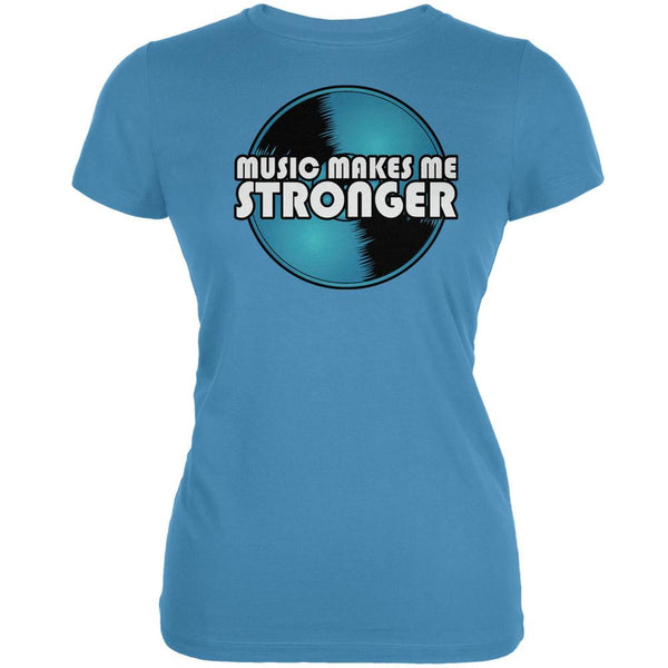 Music Makes Me Stronger Aqua Juniors Soft T-Shirt