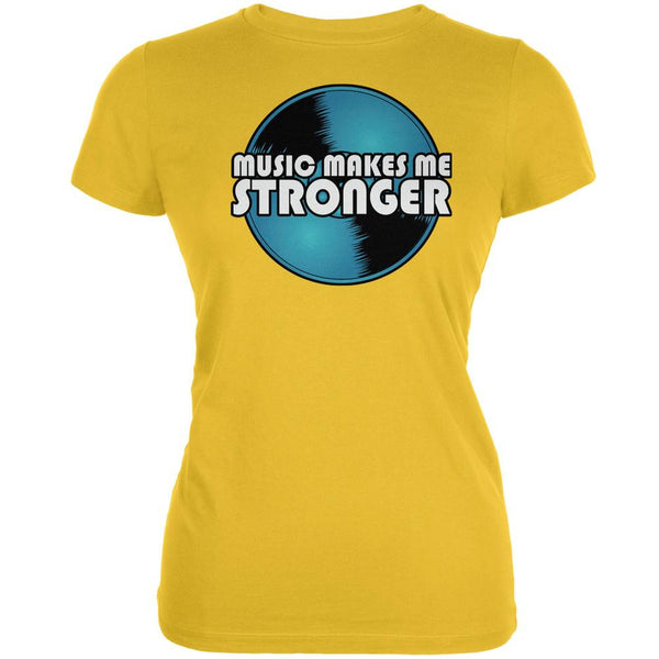 Music Makes Me Stronger Bright Yellow Juniors Soft T-Shirt