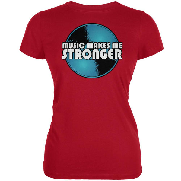 Music Makes Me Stronger Red Juniors Soft T-Shirt