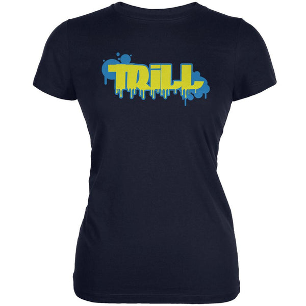 Trill Graffiti Navy Juniors Soft T-Shirt