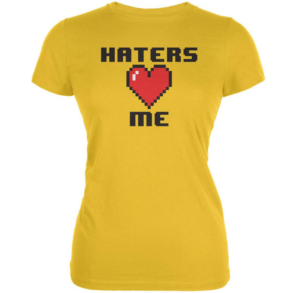 Haters Heart Me 8 Bit Bright Yellow Juniors Soft T-Shirt