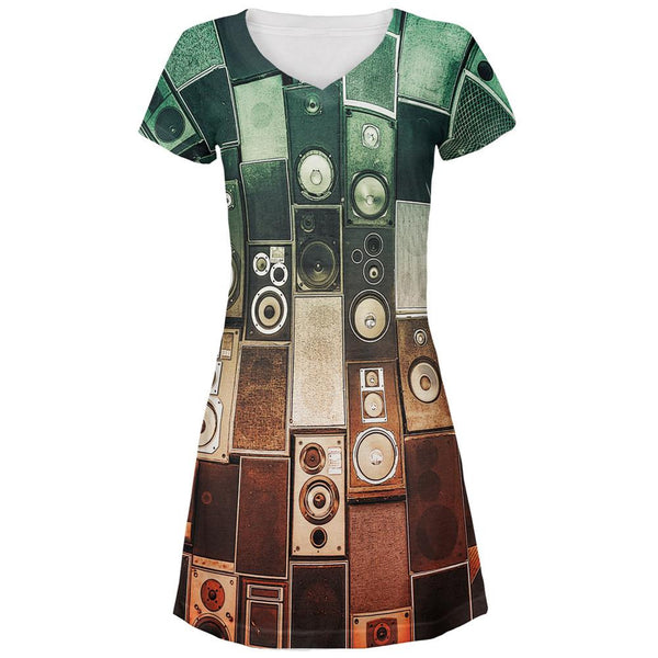 Retro Speakers All Over Juniors V-Neck Dress