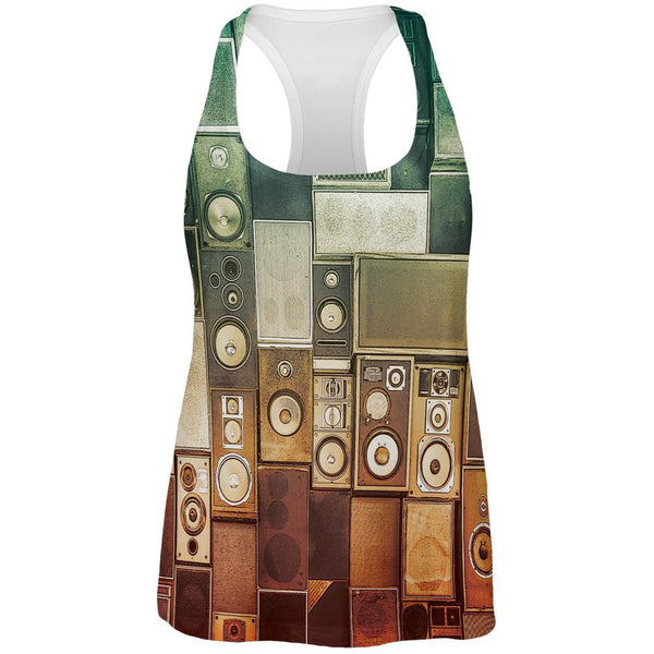 Retro Speakers All Over Womens Racerback Tank Top