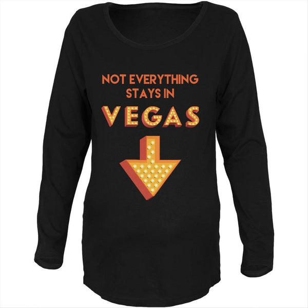 Not Everything Stays in Vegas Black Maternity Soft Long Sleeve T-Shirt