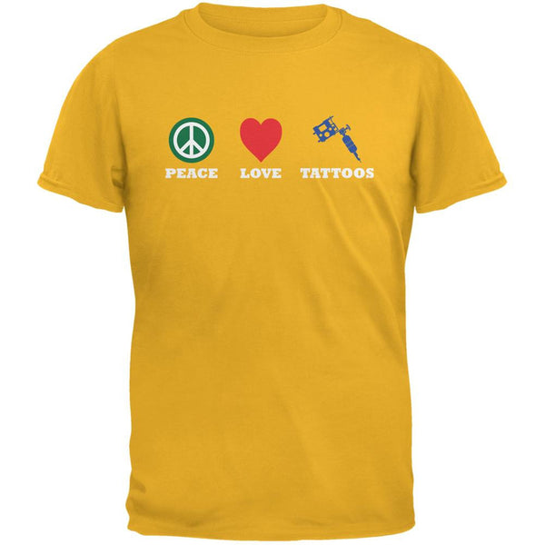 Peace Love Tattoos Gold Adult T-Shirt