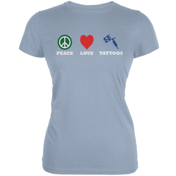 Peace Love Tattoos Light Blue Juniors Soft T-Shirt