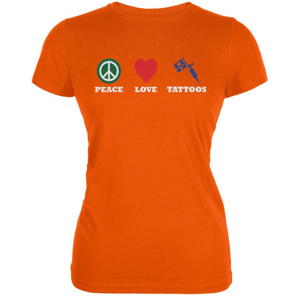 Peace Love Tattoos Orange Juniors Soft T-Shirt