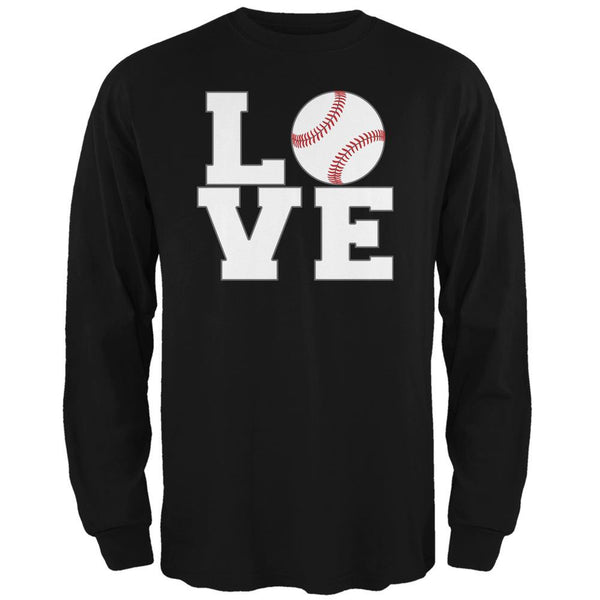 Baseball Love Black Adult Long Sleeve T-Shirt