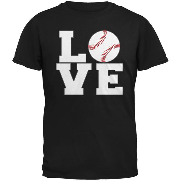 Baseball Love Black Adult T-Shirt