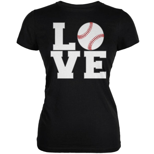 Baseball Love Black Juniors Soft T-Shirt