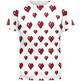8 Bit Hearts All Over Adult T-Shirt