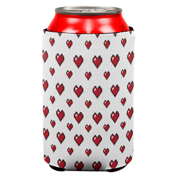 8 Bit Hearts All Over Can Cooler