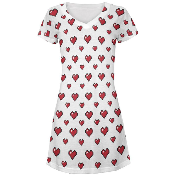 8 Bit Hearts All Over Juniors V-Neck Dress