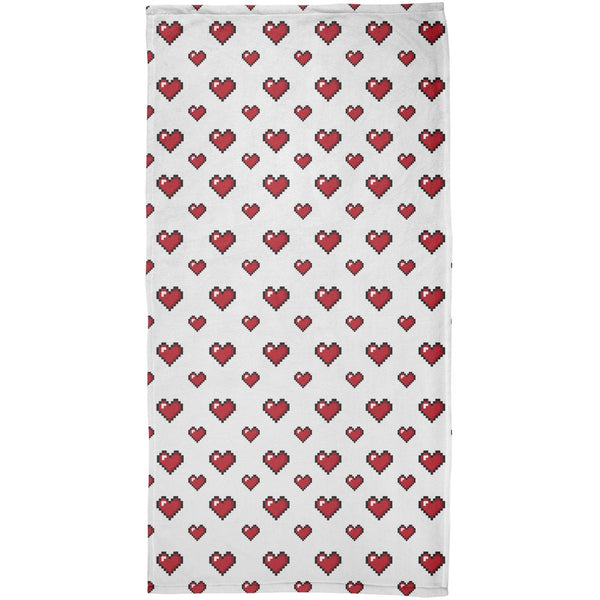 8 Bit Hearts All Over Beach Towel