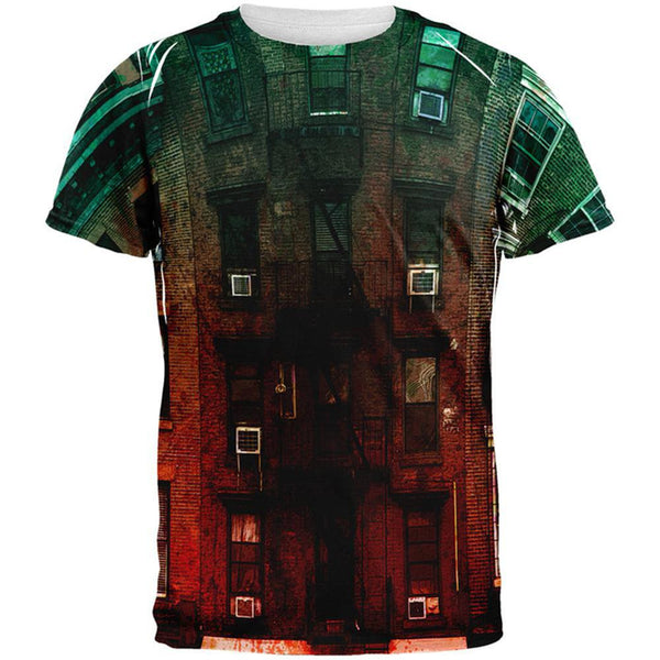 Urban Brick Building All Over Adult T-Shirt