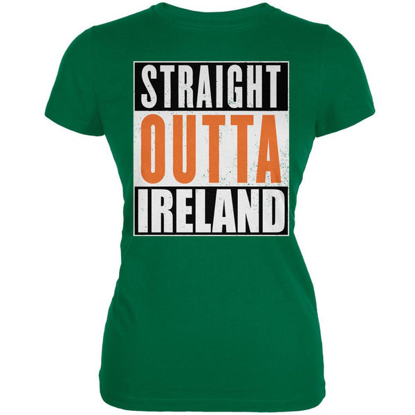 St. Patricks Day - Straight Outta Ireland Kelly Green Juniors Soft T-Shirt
