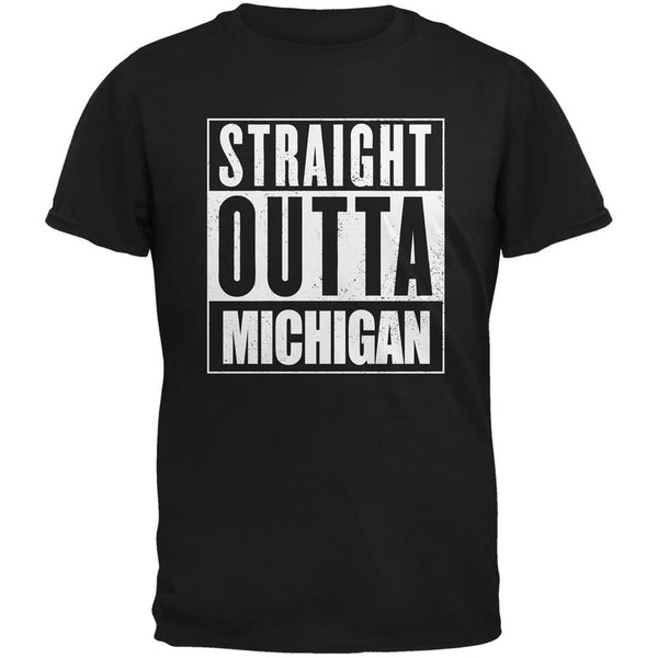 Straight Outta Michigan Black Adult T-Shirt