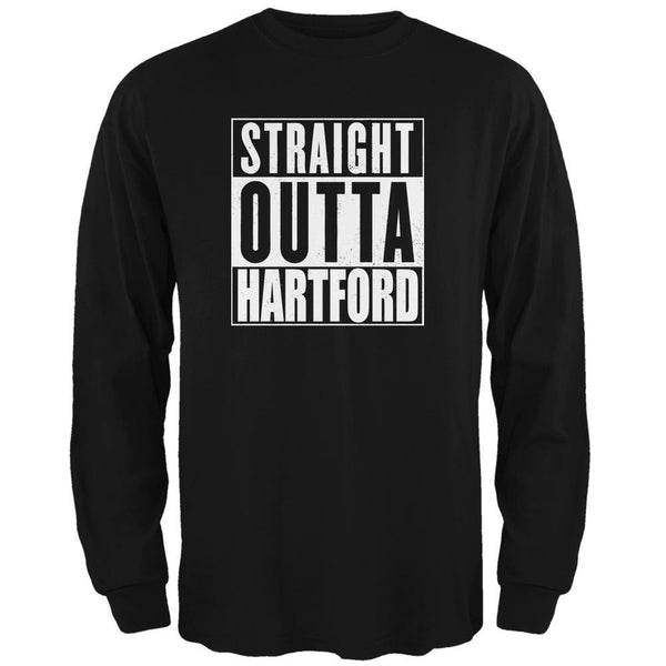 Straight Outta Hartford Black Adult Long Sleeve T-Shirt