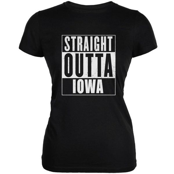 Straight Outta Iowa Black Juniors Soft T-Shirt