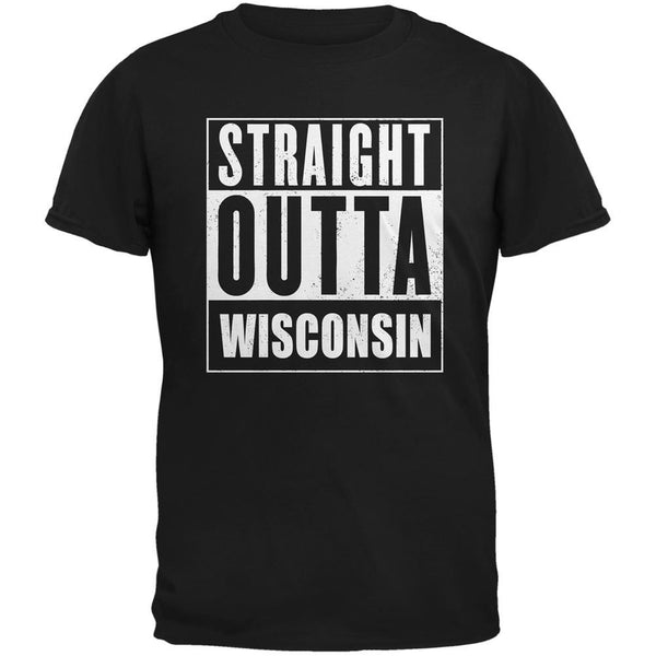 Straight Outta Wisconsin Black Adult T-Shirt