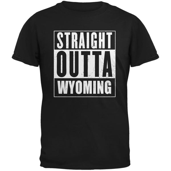 Straight Outta Wyoming Black Adult T-Shirt