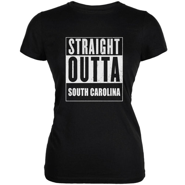 Straight Outta South Carolina Black Juniors Soft T-Shirt