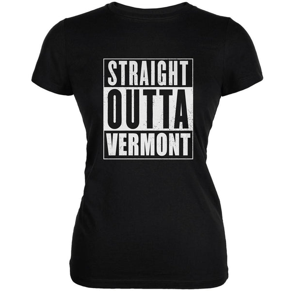 Straight Outta Vermont Black Juniors Soft T-Shirt