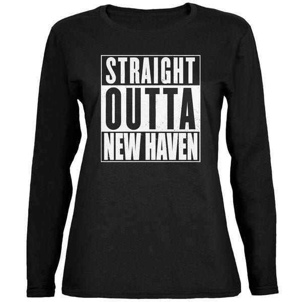 Straight Outta New Haven Black Womens Long Sleeve T-Shirt