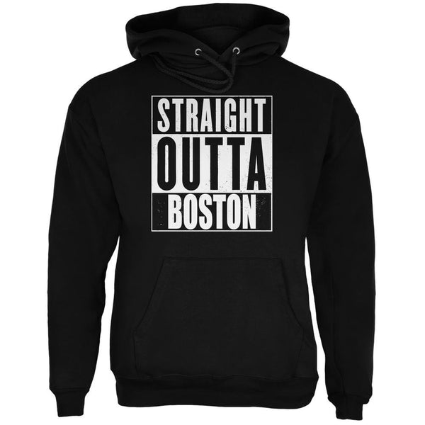 Straight Outta Boston Black Adult Hoodie