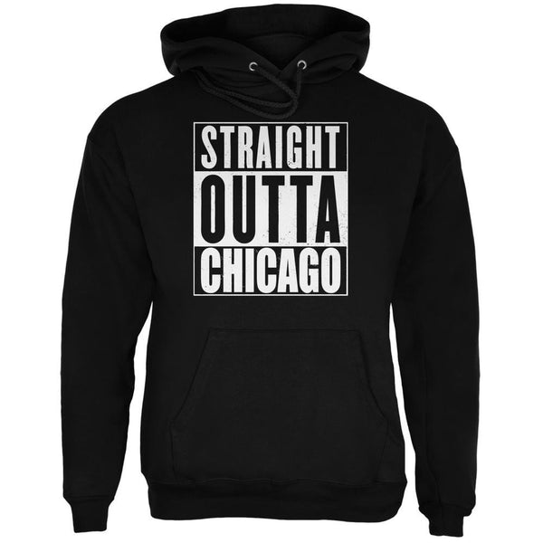 Straight Outta Chicago Black Adult Hoodie