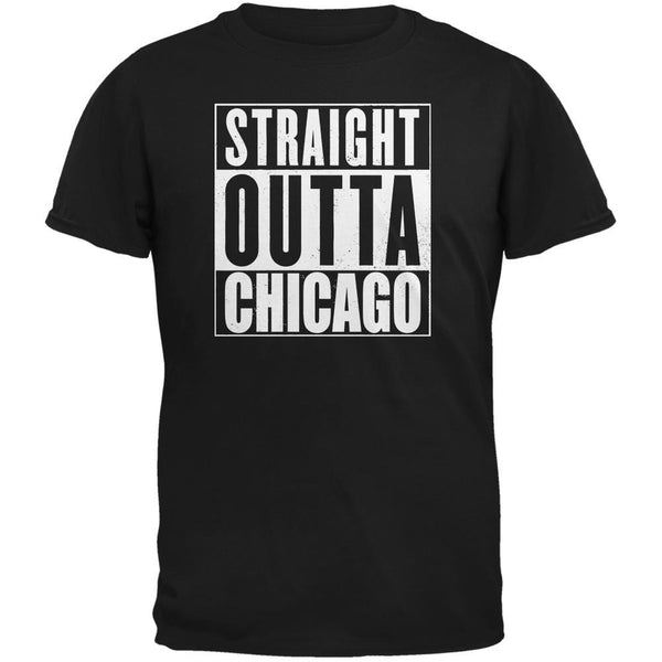 Straight Outta Chicago Black Adult T-Shirt