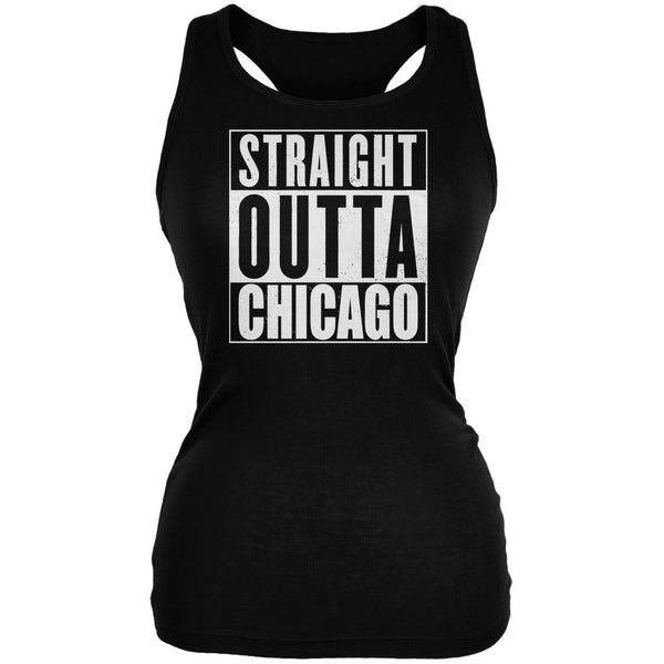 Straight Outta Chicago Black Juniors Soft Tank Top