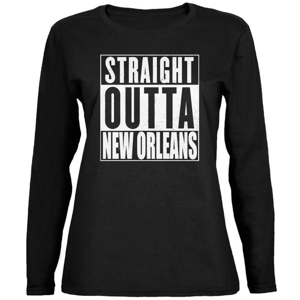 Straight Outta New Orleans Black Womens Long Sleeve T-Shirt
