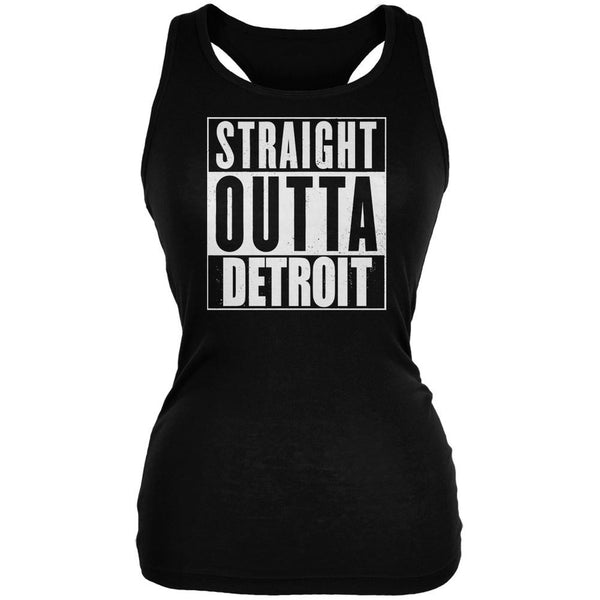 Straight Outta Detroit Black Juniors Soft Tank Top