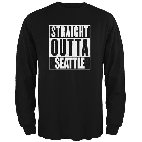Straight Outta Seattle Black Adult Long Sleeve T-Shirt