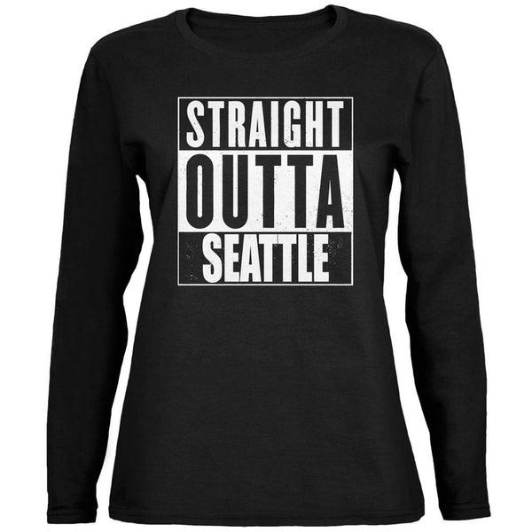 Straight Outta Seattle Black Womens Long Sleeve T-Shirt