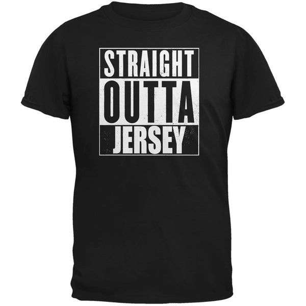 Straight Outta Jersey Black Adult T-Shirt