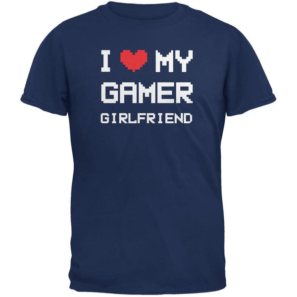 I Heart Love My Gamer Girlfriend Metro Blue Adult T-Shirt